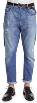 Brunello Cucinelli Five-Pocket Distressed Denim Jeans, Light Wash