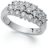 Macy's TruMiracleandreg; Three-Row Round-Cut Diamond Ring in Sterling Silver (1/2 ct. t.w.)