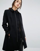 French Connection Platform Felt Coat With Zip Detail