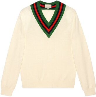 Gucci V-neck wool knit sweater