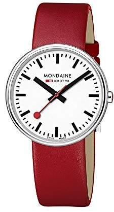 Mondaine Unisex Quartz Watch with White Dial Analogue Display and Red Leather Strap A763.30362.11SBC
