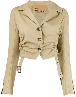 John Galliano Pre-Owned gathered cropped jacket