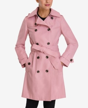 London Fog Hooded Double-Breasted Trench Coat