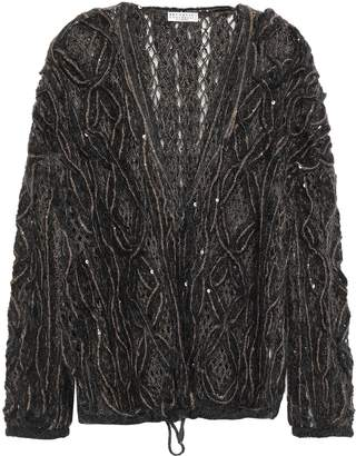 Brunello Cucinelli Sequin-embellished Open-knit Mohair-blend Cardigan