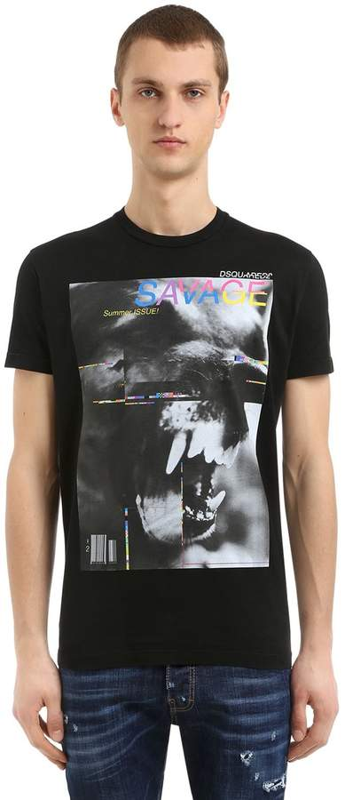 DSQUARED2 Savage Printed Cotton Jersey T-Shirt