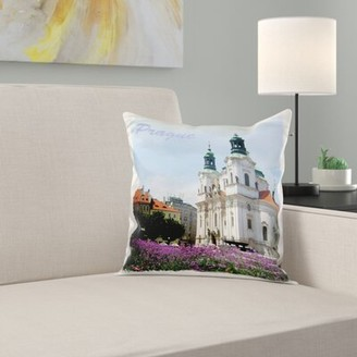 East Urban Home Prague, Czech Republic Travel Souvenir Church of St. Nicholas in Old Town Square Flowers Pillow Cover