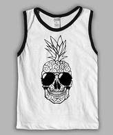 Urban Smalls White & Black Pineapple Skull Muscle Tank - Toddler & Boys
