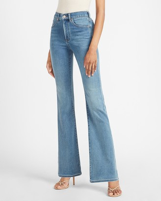 Express High Waisted Luxe Comfort Knit Flare Jeans
