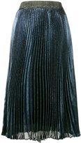 Christopher Kane Blue Pleated Lamé Midi Skirt - women - Silk/Polyester/Acetate - 42