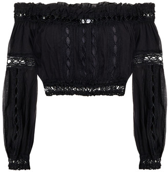 Charo Ruiz Ibiza Alova Cropped Off-the-shoulder Crocheted Lace-trimmed Cotton-blend Voile Top