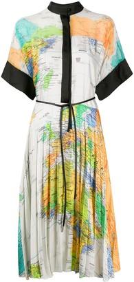 Sacai Map Print Shirt Dress