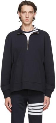 Thom Browne Navy Intarsia 4-Bar Sweatshirt