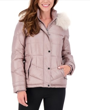 Vince Camuto High-Shine Faux-Fur-Trim Hooded Puffer Coat, Created for Macy's