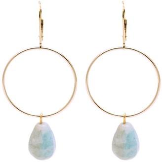 Salome Bridal Collection Signature Drop Hoop Aquamarine Gemstone Earrings