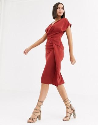 Asos Design DESIGN twist and drape front midi dress-Red