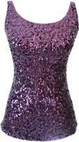 URqueen Women's Spaghetti Strap Sequins Clubwear Tank Top Dark Blue