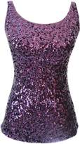 URqueen Women's Spaghetti Strap Sequins Clubwear Tank Top Light Blue