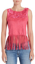 Buffalo David Bitton Embroidered Faux Suede Top