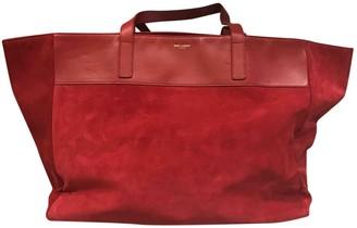 Saint Laurent Shopping Red Suede Handbags