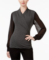 Vince Camuto Mixed-Media Wrap Top, A Macy's Exclusive Style