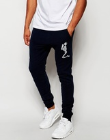 Religion Joggers With Large Skeleton Emroidery - Blue
