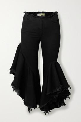 Marques Almeida Asymmetric Frayed Flared Jeans - Black