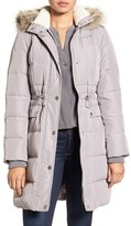 Kenneth Cole New York Women's Quilted Down & Feather Coat With Faux Fur Trim Hood