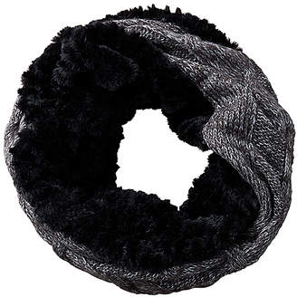 Tickled Pink Women's Cold Weather Scarves BLACK - Black Faux Fur-Accent Knit Snood
