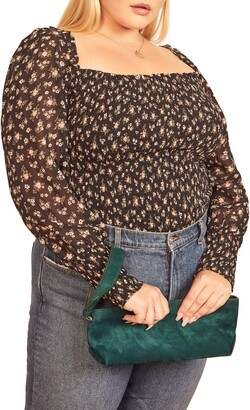 Reformation Pinto Smocked Floral Print Top
