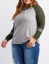 Charlotte Russe Plus Size Brushed Varsity Stripe Hooded Sweatshirt