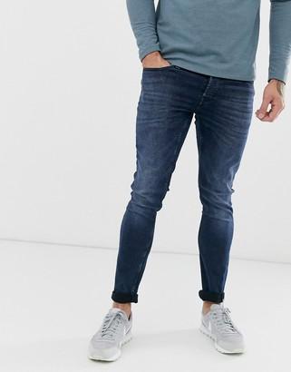 ONLY & SONS LOOM dark blue wash jeans in slim-Navy