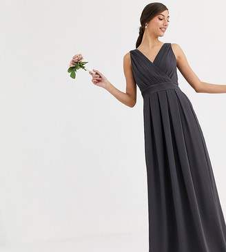 TFNC Tall Tall Bridesmaid maxi dress with bow back in grey