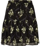 River Island Womens Black floral print tiered mini skirt