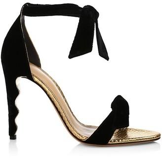 Alexandre Birman Clarita Wave Bow Velvet & Metallic Snakeskin-Embossed Leather Sandals