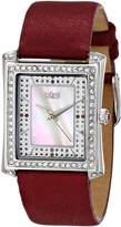 Burgi Women's BUR088BUR Swiss Quartz Crystal Burgundy Leather Strap Watch