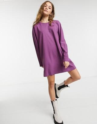 Miss Selfridge long sleeve t-shirt dress in purple