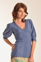 Plenty by Tracy Reese Solid Puff Sleeve Sweater in Chambray