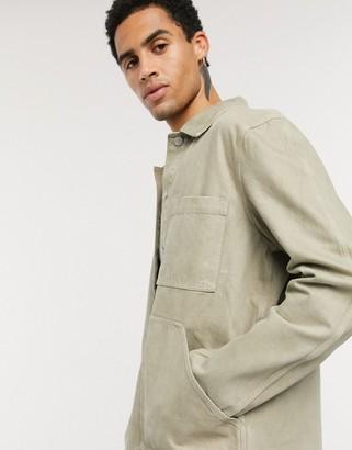 Weekday Jess Denim Jacket in Khaki Green