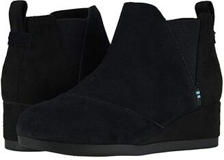 TOMS Kids Kelsey (Toddler/Little Kid) (Black Suede) Girl's Shoes