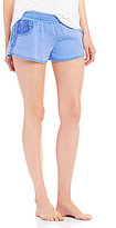 PJ Salvage Crochet-Trimmed Acid Wash Sleep Shorts