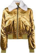 Haider Ackermann metallic cropped bomber jacket