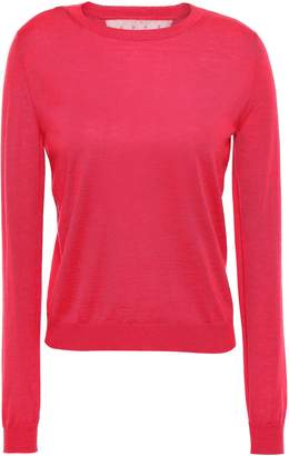 RED Valentino Point D'esprit-trimmed Melange Cashmere And Silk-blend Sweater