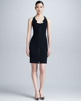 Chado Ralph Rucci Crepe Zip-Front Illusion-Back Dress, Black