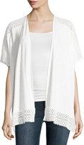 Neiman Marcus Lace-Trim Cocoon Cardigan, White