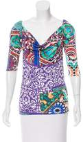 Blumarine Printed Cowl Neck Top