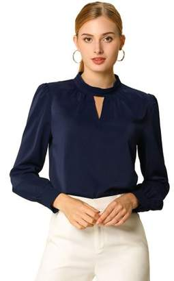 Unique Bargains Women's Stand Collar Long Sleeve Work Office Shirt Blouse L NavyBlue