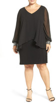 Alex Evenings Beaded V-Neck Sheath Dress with Capelet Overlay (Plus Size)