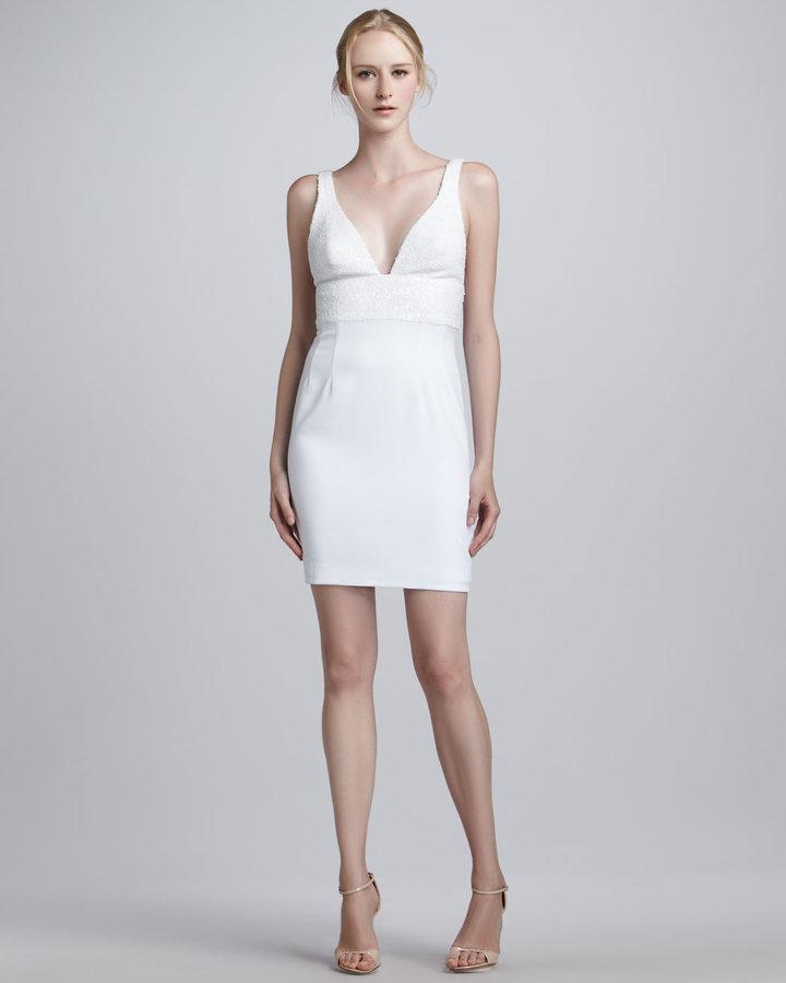 Jay Godfrey Sequin-Bodice V-Neck Dress