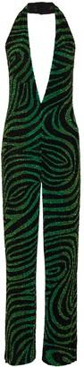 Ashish Sequin-Embellished Zebra-Pattern Halterneck Jumpsuit