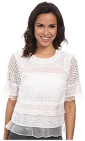 Rebecca Taylor Short Sleeve Tile Lace Ruffle Top